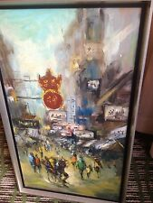 Antique Busy Chinese City Realism Oil Painting on Canvas Signed By Artist 1900's