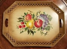 Vintage Hand Tole Painted Fruit Metal Tray, Nashco Products New York Toleware