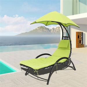 Outdoor Garden Helicopter Hanging Swing Hammock Lounger Egg Chair Sun Green