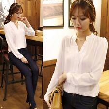Womens Blouse Chiffon Long Sleeve Ladies T Shirt Casual Loose Shirt Tops#