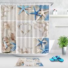 Waterproof Collage of Beach Seashells Shower Curtain Bathroom Decor Mat Hooks