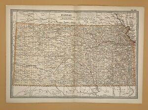 Original  Encyclopaedia Britannica Map from 1903 of Kansas United States