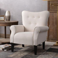 Modern Accent Chair Single Sofa Armchair Couch Linen Upholstered Living Room