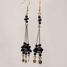 African Tourmaline Stone Bead Handmade Brass Wire Rod Coil Earrings 900-3-78