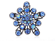 Flower Starburst Fashion Brooch Pins Sapphire Alloy Crystal Rhinestone Filigree