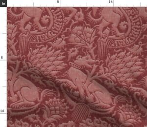 Renaissance Damask Red Historic Medieval Animal Spoonflower Fabric by the Yard