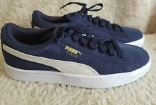 Puma Suede Youth Boys Shoes Navy Blue White Size 5.5