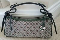 Dooney & Bourke Signature DB Logo Green Canvas Leather Trim Shoulder Handbag New
