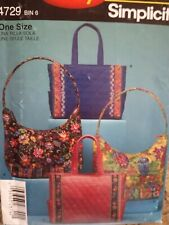 Simplicity Sewing Pattern #4729-Misses' PURSE-HAND BAG-TOTE BAG-Uncut-Quilted