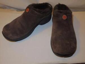WOMENS MERRELL CHOCOLATE BROWN SUEDE SLIP-ON SHOES SIZE 8