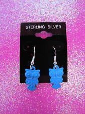 925 Sterling Silver Blue Owl Dangle Earrings