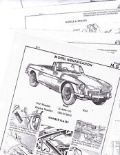 MGB BODY PARTS LIST CRASH SHEETS MFRE