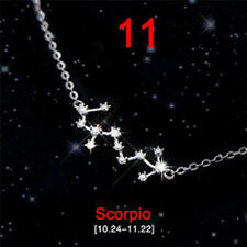 12 Constellations Star Sign Silver Plated Rhinestone Necklace Pendants Jewelry …