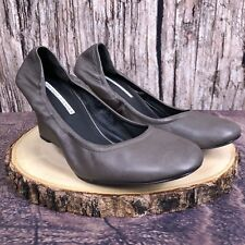 Vera Wang Lavender Monique Shoes Wedges Gray Leather Women's Size 8.5