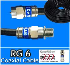 Rg6 Pct F Extension Black Coax Coaxial 0.5-150 Ft Cable Satellite Tv Ant lot