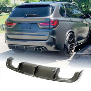 For BMW X5M F85 X6M F86 15-19 Carbon Fiber Rear Bumper Diffuser Lip Chin Spoiler
