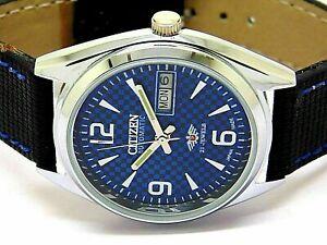Citizen Automatique Homme Acier Cadran Bleu Vintage Jour / Date Japon Montre Run