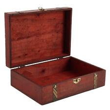 Red Wood Retro Jewelry Storage Organizer Wooden Case Treasure Chest Box