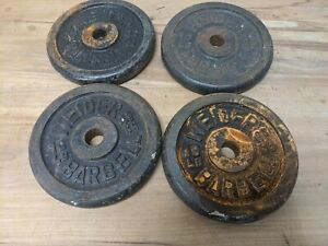 """Vintage WEIDER 10 LB Weight Plates 4 x 10 lb  - 1"""" HOLE Barbell (40LB Total)"""