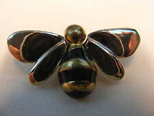 Vintage Costume Jewelry Gold and Silver Black Enamel Bumble Bea Pin