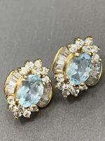 Vintage Blue white crystal  Post Pierced Earring Set Sparkles Like Diamonds