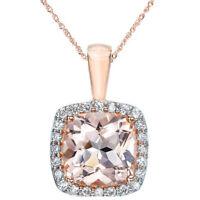 1 1/10ct Morganite Cushion Halo Diamond Pendant 14K Rose Gold
