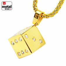 "14k Gold Plated Stainless Steel Plated 3D Dice Pendant 24"" Box Chain SCP 173 G"