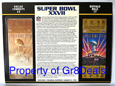 SUPER BOWL 27 ~ COWBOYS / BILLS ~ NFL 22 KT GOLD SB XXVII TICKET Willabee & Ward
