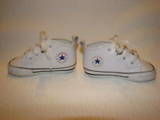 CONVERSE All Star Baby Size 3 White Leather Crib Shoes Lace Up Infant Unisex EUC