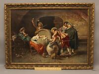 Large Antique Signed Italian Cavalier Men in Wine Cellar. Genre Oil Painting, NR