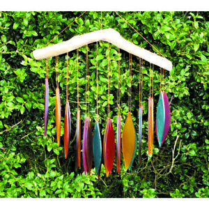 My Family House Wind Chime Falling Leaves - Multicolour - Glass & Wood - 34x20cm