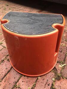 Vintage Step Stool Industrial Metal Rolling Swivel Step Stool Library Orange