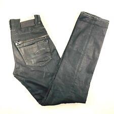 G Star Raw Slim Tapered Waxed Black Denim Jeans Embellished Mens 32x36