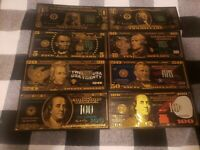 US Dollar Set of (8) Black, Green, & Gold Colored Bills 1,2,5,10,20,50,100, 100!