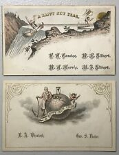 Two Antique 1877 1876 New Year Cards Father Time Wonderful Graphics