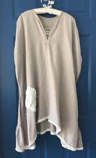 TINA GIVENS Handmade /Dress ART TO WEAR LAGENLOOK Pheasant BOHO Linen Size Med M