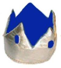 Medieval Silver & Blue Kings Crown Royalty Hat Fancy Dress Adult NEW P6689