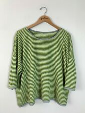 Eileen Fisher Yellow Gray Striped Short Sleeve 100% Linen Shirt Top Large L