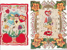Early Die Cut Valentines ~ (4 Cards) ~ c. - 1920's