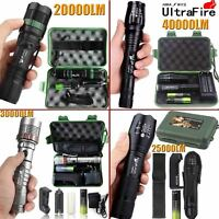 Ultrafire 40000LM 5Mode T6 LED Military Flashlight Zoom Torch+18650+Charger+Case