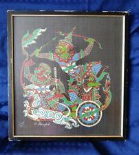 Vintage / Retro Thai Fabric Painting Warriors Chariot - Framed - O.Bangkok