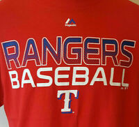Texas Rangers Logo T Shirt L Large EUC RED MLB Baseball Majestic INV1110