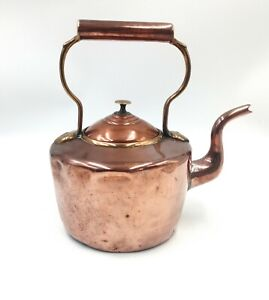 Antique Victorian Copper and Brass Kettle With Goose Neck Spout