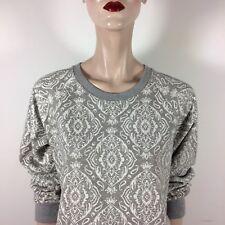 J. CREW donna sweat shirt L 40 Beige Grigio Tapestry GEO Print Top Sport Top