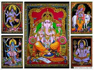 New Hindu God Sequin Poster Wall Hanging Home Decor Tapestry Religious Lord Boho