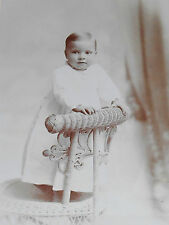 ANTIQUE CABINET PHOTO BLOND LITTLE BOY LACE TRIMMED GOWN SAC CITY IOWA 1880-90s