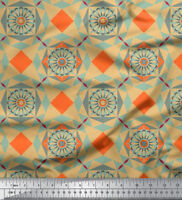 Soimoi Pure Silk Fabric Mosaic Printed 44 Inches Wide Material By The Yard