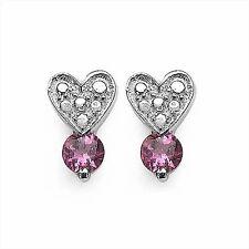 Ohrstecker Herz mit Rosa/Pink Turmalin-925 Sterling Silber-Rhodiniert-0,50 Karat