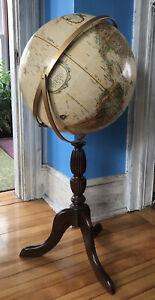 "Vintage Replogle World Classic Series 16"" Globe Wood Floor Model Stand Made USA"