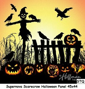 Halloween Scarecrow Digital Panel cotton quilt fabric Hoffman BTP 45x44